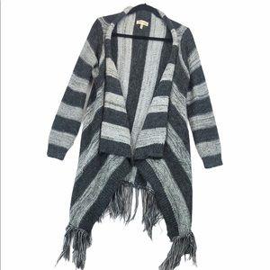 Monteau Long Fringe Waterfall Sweater Cardigan